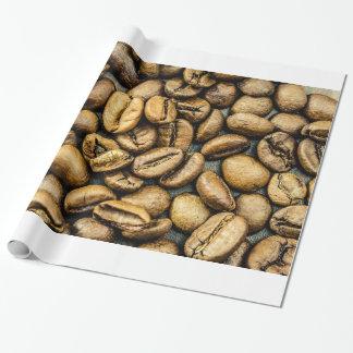 Los granos de café rústicos deliciosos del oro ven papel de regalo