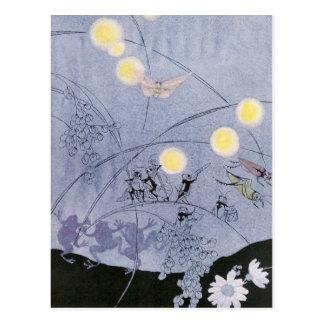 Los grillos y las ranas hacen música de la noche tarjeta postal