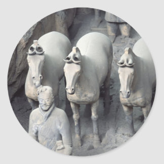 Los guerreros del ejército de la terracota etiqueta redonda