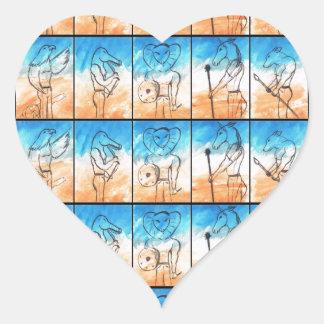 Los guerreros pegatinas de corazon