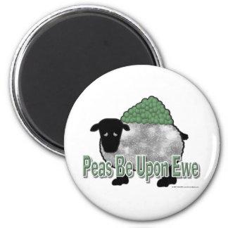 Los guisantes estén sobre oveja imán redondo 5 cm