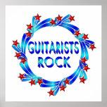 Los guitarristas oscilan las estrellas rojas posters