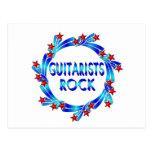 Los guitarristas oscilan las estrellas rojas postal