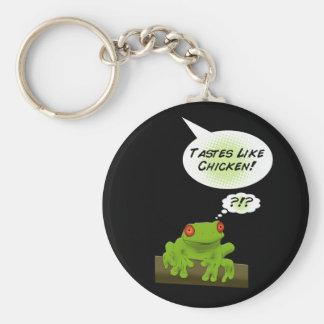 Los gustos del Froggy tienen gusto del pollo Llavero Redondo Tipo Pin