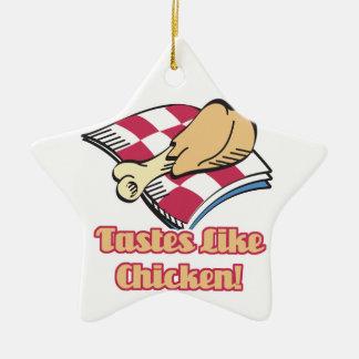 los gustos tienen gusto del pollo adorno de cerámica en forma de estrella