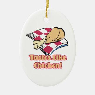 los gustos tienen gusto del pollo adorno ovalado de cerámica