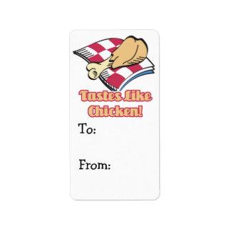 los gustos tienen gusto del pollo etiqueta de dirección