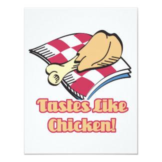 """los gustos tienen gusto del pollo invitación 4.25"""" x 5.5"""""""