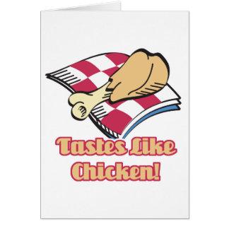 los gustos tienen gusto del pollo tarjeta de felicitación