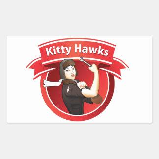 Los halcones del gatito pegatina rectangular