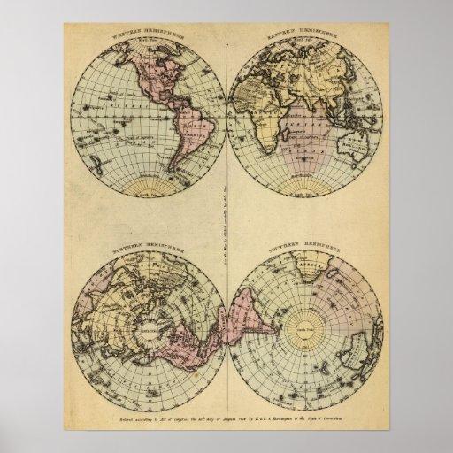 Los hemisferios dan el mapa del atlas coloreado posters