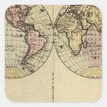 Los hemisferios dan el mapa del atlas coloreado pegatinas cuadradas