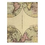 Los hemisferios dan el mapa del atlas coloreado postales