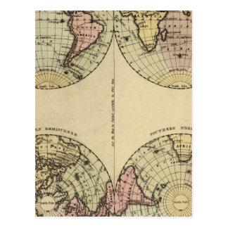 Los hemisferios dan el mapa del atlas coloreado postal