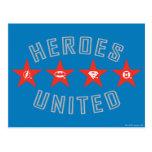Los héroes de la liga de justicia desataron logoti tarjeta postal
