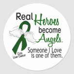 Los héroes hacen cáncer de hígado de los ángeles pegatinas redondas