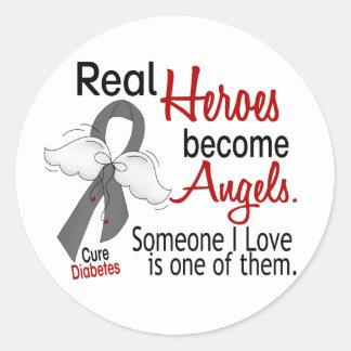 Los héroes hacen diabetes de los ángeles pegatina redonda