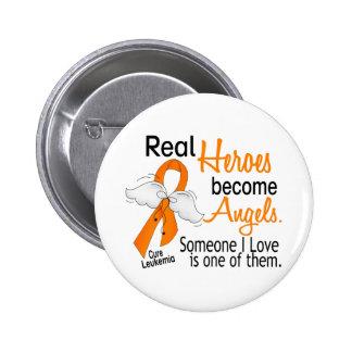 Los héroes hacen leucemia de los ángeles pin redondo de 2 pulgadas