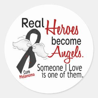 Los héroes hacen melanoma de los ángeles pegatina redonda