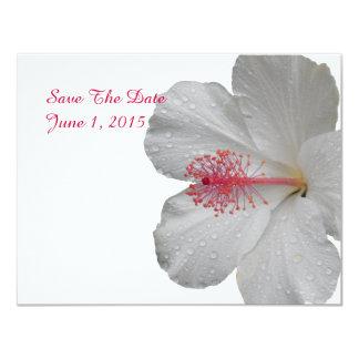"""Los hibiscos blancos tropicales ahorran las invitación 4.25"""" x 5.5"""""""