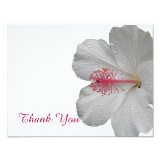 """Los hibiscos blancos tropicales le agradecen invitación 4.25"""" x 5.5"""""""