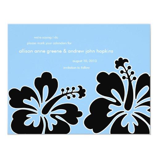 """Los hibiscos dulces ahorran la tarjeta de la invitación 4.25"""" x 5.5"""""""