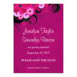 Los hibiscos florales fucsias ahorran la invitación 12,7 x 17,8 cm