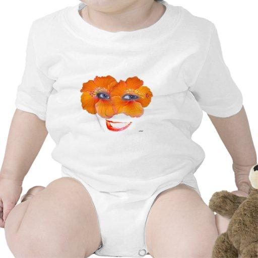 Los hibiscos hacen frente con la sonrisa - naranja trajes de bebé