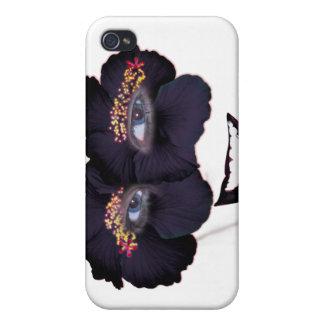 Los hibiscos hacen frente con la sonrisa - negro/p iPhone 4 funda