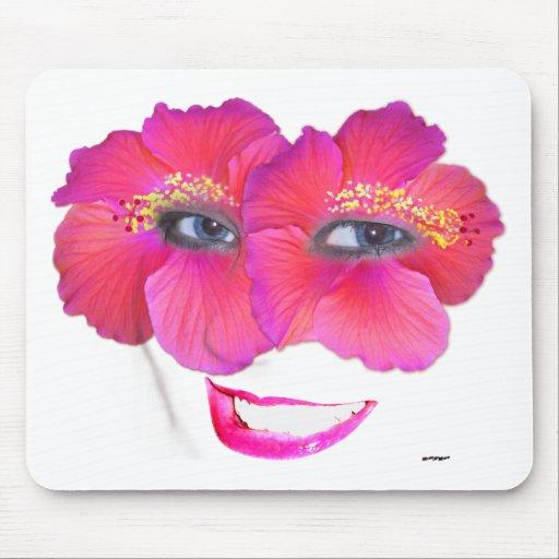 Los hibiscos hacen frente con la sonrisa - rosa tapete de ratones