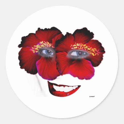 Los hibiscos hacen frente con sonrisa - rojo y pegatina redonda