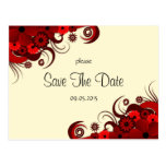 Los hibiscos rojos florales ahorran las invitacion postal