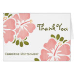 Los hibiscos rosados le agradecen las tarjetas de