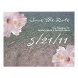 Los hibiscos tropicales del boda de playa ahorran anuncios personalizados