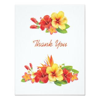 """Los hibiscos tropicales le agradecen cardar invitación 4.25"""" x 5.5"""""""