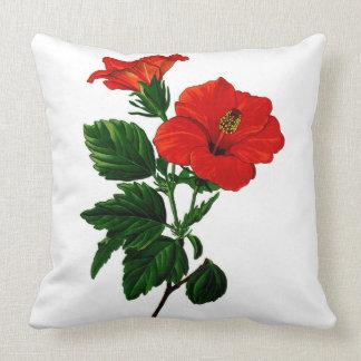 Los hibiscos tropicales se dirigen la almohada de
