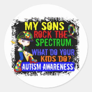 Los hijos oscilan el autismo del espectro pegatina redonda