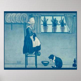 Los holandeses del vintage diseñan, 1905 el chica  póster