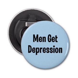 Los hombres consiguen la depresión abrebotellas redondo
