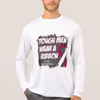 Los hombres duros del cáncer de garganta llevan remeras