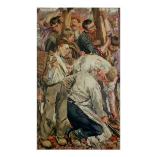 Los hombres, el panel izquierdo de la edad del tra póster