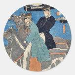 Los hombres franceses que toman el caballo montan  pegatinas redondas