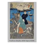 Los hombres franceses que toman el caballo montan  tarjetón