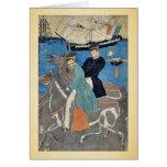 Los hombres franceses que toman el caballo montan  felicitaciones