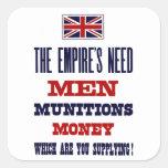 Los hombres, las municiones y el dinero del ~ de l pegatinas cuadradases personalizadas