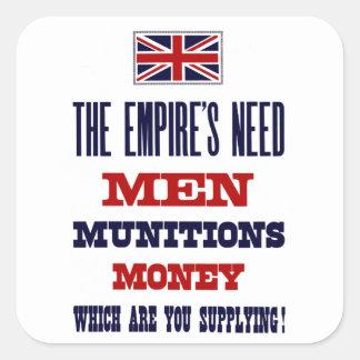 Los hombres, las municiones y el dinero del ~ de pegatinas cuadradases personalizadas