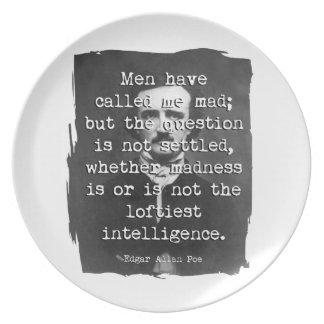 Los hombres me han llamado cita enojada del Poe Platos De Comidas
