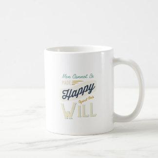 Los hombres no pueden ser hechos felices contra su taza básica blanca