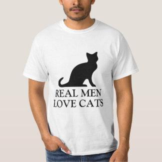 Los hombres reales aman el gatito blanco y negro polera