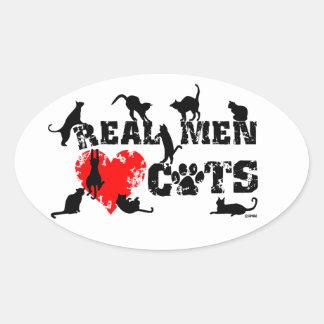 Los hombres reales aman los gatos, gatos tienen 9 pegatinas ovales